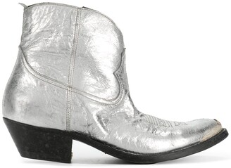 Golden Goose gold and silver metallic young leather cowboy boots