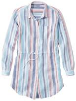 L.L. Bean L.L.Bean Women's Premium Washable Linen Drawstring Tunic, Stripe
