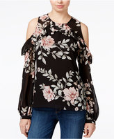 GUESS Adler Floral-Print Cold-Shoulder Top