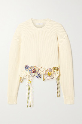 Area Cropped Crystal-embellished Ribbed Cotton-blend Sweater - Ivory