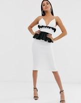 Asos Design DESIGN ruffle waist plunge bodycon midi dress