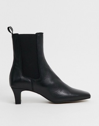 CHIO square toe chelsea boots in black leather