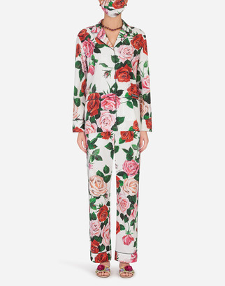 Dolce & Gabbana Rose-Print Pajama Set With Matching Face Mask
