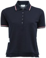 Thom Browne Short Sleeve Polo Shirt In Navy Fine Mercerized Pique