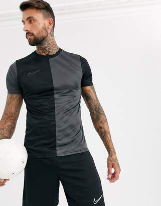 Nike Football academy t-shirt in black and grey all over print