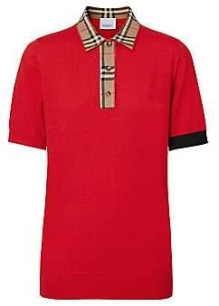 Burberry Women's Penk Short Sleeve Check Collar Polo