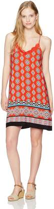 My Michelle Women's Printed Spaghetti Strap Dress with Bar Back and Crochet