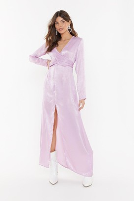 Nasty Gal Womens How About Bow Satin Maxi Dress - purple - 6