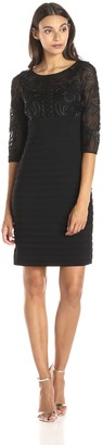 Adrianna Papell Women's 3/4 Sleeve Textured Lace Banded Dress