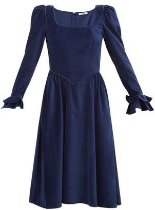 Batsheva Puff-sleeved Square-neckline Velvet Dress - Womens - Navy