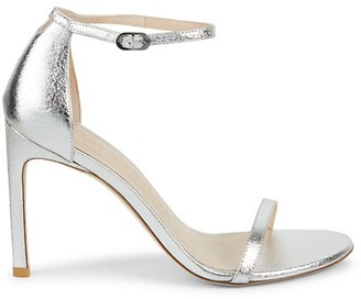 Stuart Weitzman Nudistsong Metallic Leather Ankle-Strap Sandals