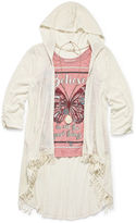Self Esteem 3/4-Sleeve Hooded Duster with Tank Top and Necklace - Girls 7-16