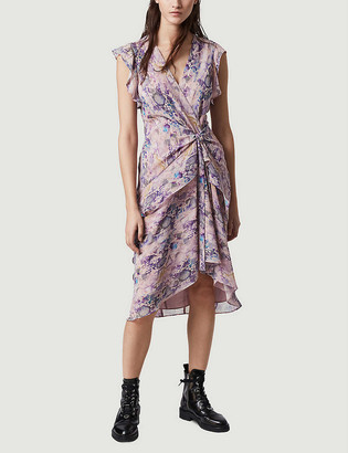 AllSaints Reila Masala V-neck draped graphic-print mini dress