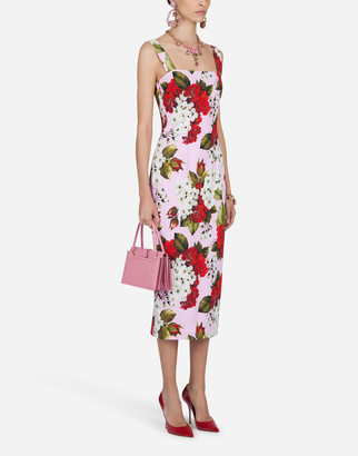 Dolce & Gabbana Sleeveless Geranium-Print Cady Midi Dress