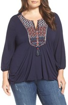 Democracy Plus Size Women's Embroidered Bib Top