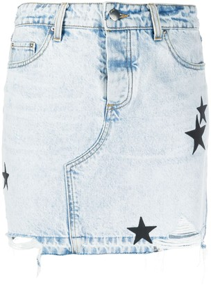 Amiri Star Patch Denim Skirt