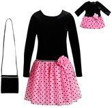 Dollie & Me Girls 4-14 Velour Dress & Matching Purse Set