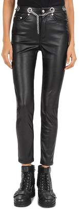 The Kooples Lizzy Mid-Rise Faux-Leather Jeans in Black