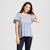 Knox Rose Women's Lace Trim Peasant Top with Eyelet Yoke - Knox Rose Dusty Blue