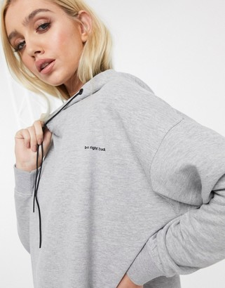 Night Addict BRB slogan oversized hoodie dress-Grey