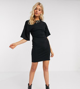 Asos Tall DESIGN Tall structured t-shirt dress with seams in black