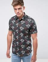 New Look Regular Short Sleeve Poplin Shirt With Floral Print