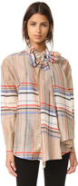 Suno Plaid Tie Neck Shirt