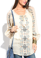 Miss June Beige & Blue Geometric-Embroidered Long-Sleeve Top
