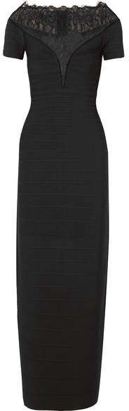 Herve Leger Lace-paneled Bandage Gown - Black