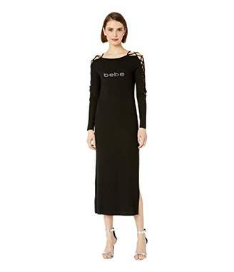 Bebe Womens Logo Lace-Up Sleeve Midi Dress XS