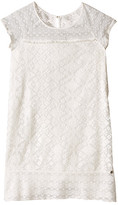 Ikks Embroidered Lace Shift Dress with Cap Sleeve & Button Top Back (Big Kids)