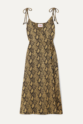 Solid & Striped Stretch Jacquard-knit Wrap Dress - Snake print