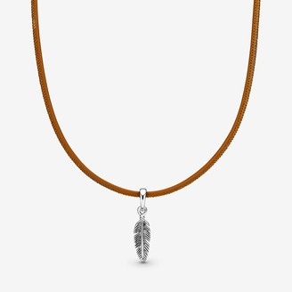Pandora Golden Tan Leather Feather Choker Necklace - FINAL SALE