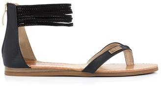 Les Tropéziennes Gingko Leather Flat Sandals with Ankle Cuff