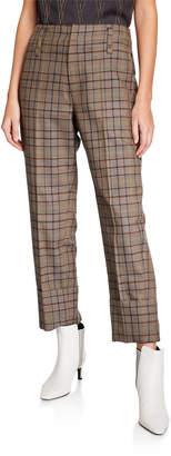 Brunello Cucinelli Double-Cuff Straight-Leg Check Pants