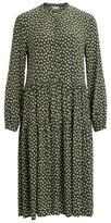 Vila Olive Green Ditsy Leaf Dress - 8