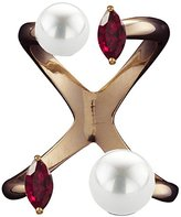 Bijules Women's Rose Gold Plated Sterling Silver Marquise Red Ruby and Double Round White Pearls Future Knuckle Ring - Size Medium