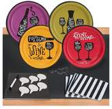 BuySeasons 32ct Wine Time Appetizer Pack with Chalkboard Runner & Cheese Board