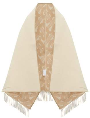 Burberry Helene Leather Trimmed Merino Blend Poncho Wrap - Womens - Nude