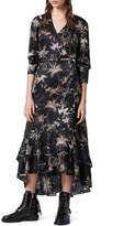 AllSaints Tage Evolution Floral Print High/Low Wrap Dress
