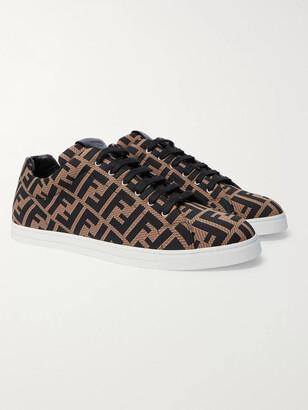 Fendi Leather-Trimmed Logo-Jacquard Mesh Sneakers