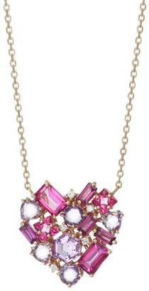 Suzanne Kalan 14K Rose Gold Pink Topaz, Rhodalite & Diamond Heart Pendant Necklace