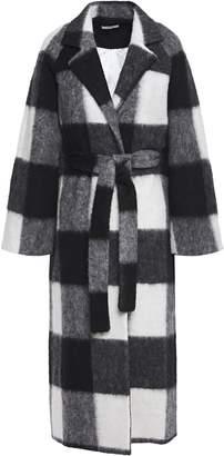 Ganni Mckinney Belted Checked Brushed-felt Coat