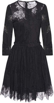 Carven Pleated Lace Mini Dress