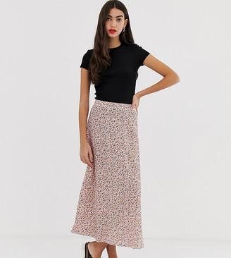 New Look Tall ditsy floral midi skirt in multi-Purple