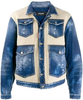 DSQUARED2 faux shearling panels denim jacket