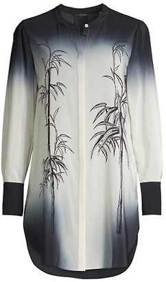 Kobi Halperin Lindsay Bamboo-Print Ombre Silk Tunic