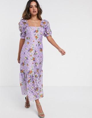 ASOS DESIGN textured organza maxi dress in floral print