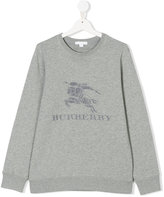 Burberry embroidered logo sweatshirt - kids - Cotton - 14 yrs