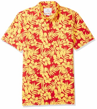 28 Palms Men's Relaxed-Fit Performance Cotton Tropical Print Pique Golf Polo Shirt